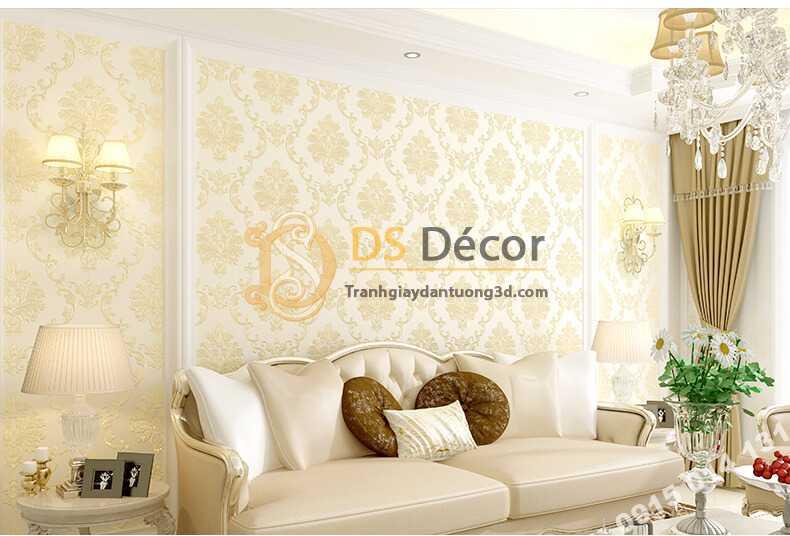 Giấy dán tường cổ điển 3D003 màu be phòng khách