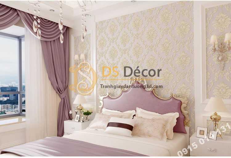 Giấy dán tường cổ điển 3D003 màu hồng nhạt phòng ngủ