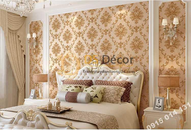 Giấy dán tường cổ điển 3D003 màu nâu phòng ngủ