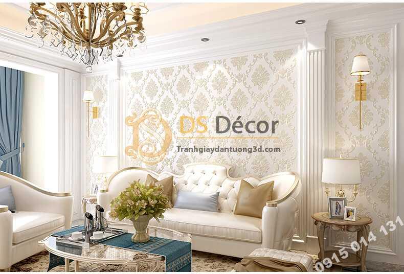 Giấy dán tường cổ điển 3D003 màu trắng phòng khách