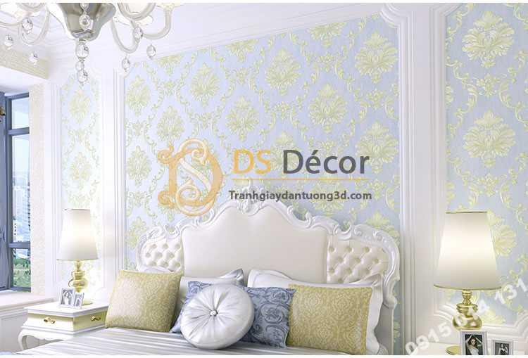 Giấy dán tường cổ điển 3D003 màu xanh phòng ngủ