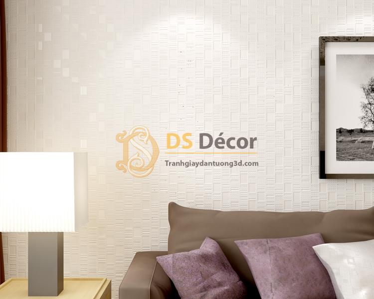 Giấy dán tường 3d họa tiết kẻ sọc 3D001 màu trắng