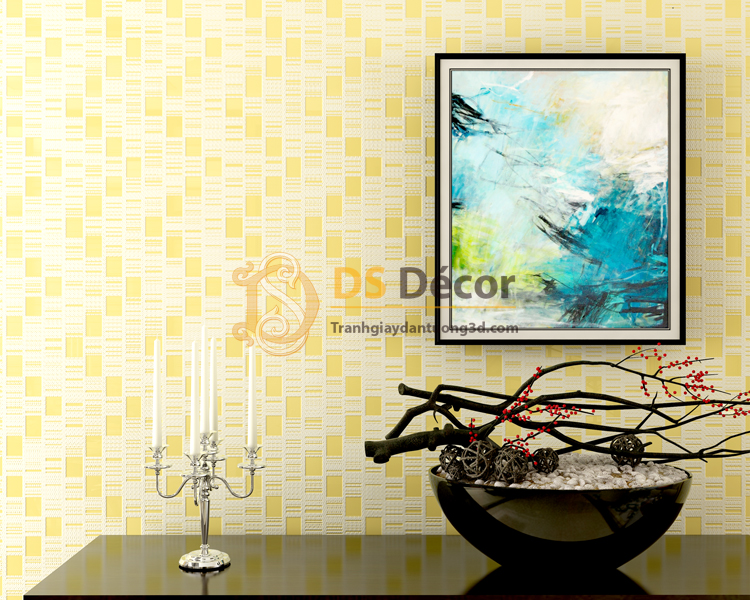 Giấy dán tường 3d họa tiết kẻ sọc 3D001 màu vàng tươi