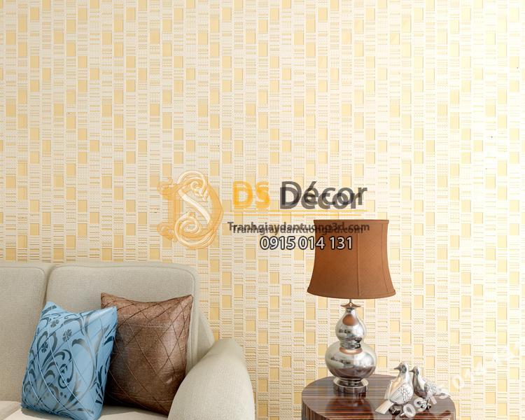 Giấy dán tường 3d họa tiết kẻ sọc 3D001 màu vàng