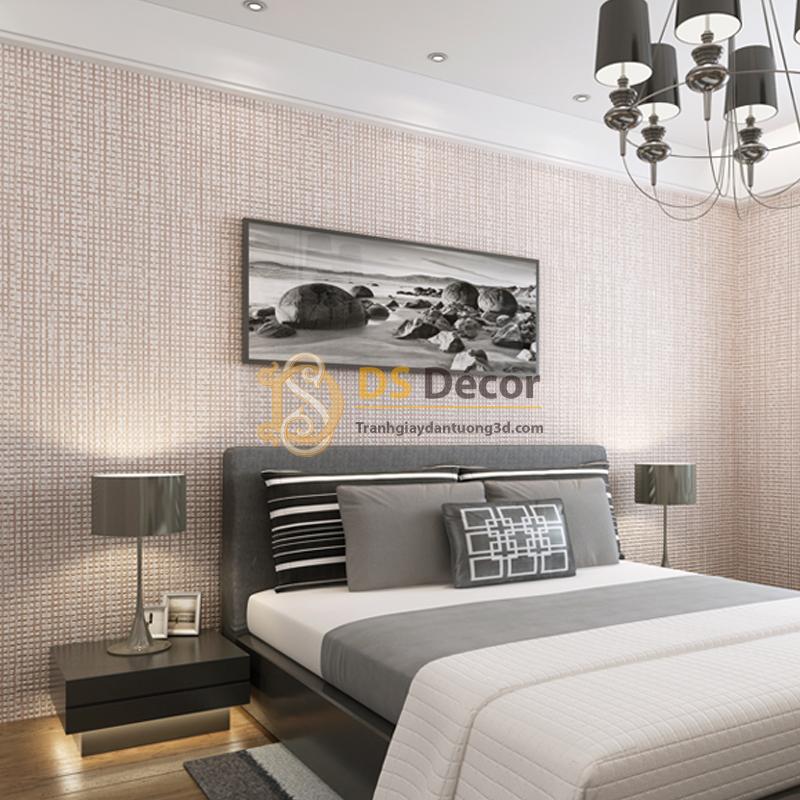Giấy Dán Tường 3D – Chi Tiết Vuông Dập Nổi Đơn Giản 3D002 tại phòng ngủ