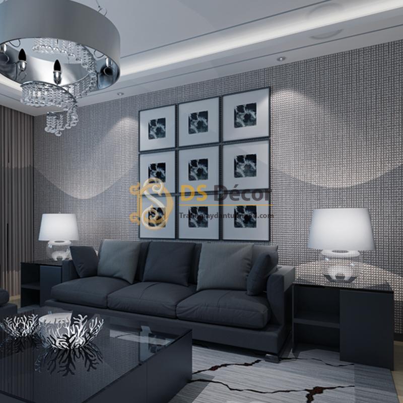 Giấy Dán Tường 3D – Chi Tiết Vuông Dập Nổi Đơn Giản 3D002 màu xám