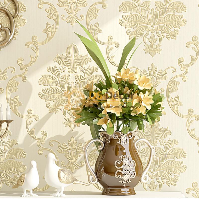 Giấy dán tường 3D dập nổi họa tiết hoa kiểu Châu Âu 3D003 nền trắng hoa vàng