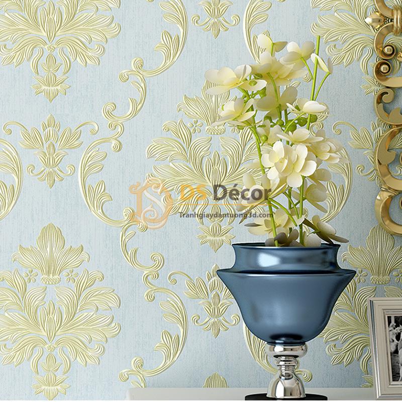 Giấy dán tường 3D dập nổi họa tiết hoa kiểu Châu Âu 3D003 nền xanh hoa vàng