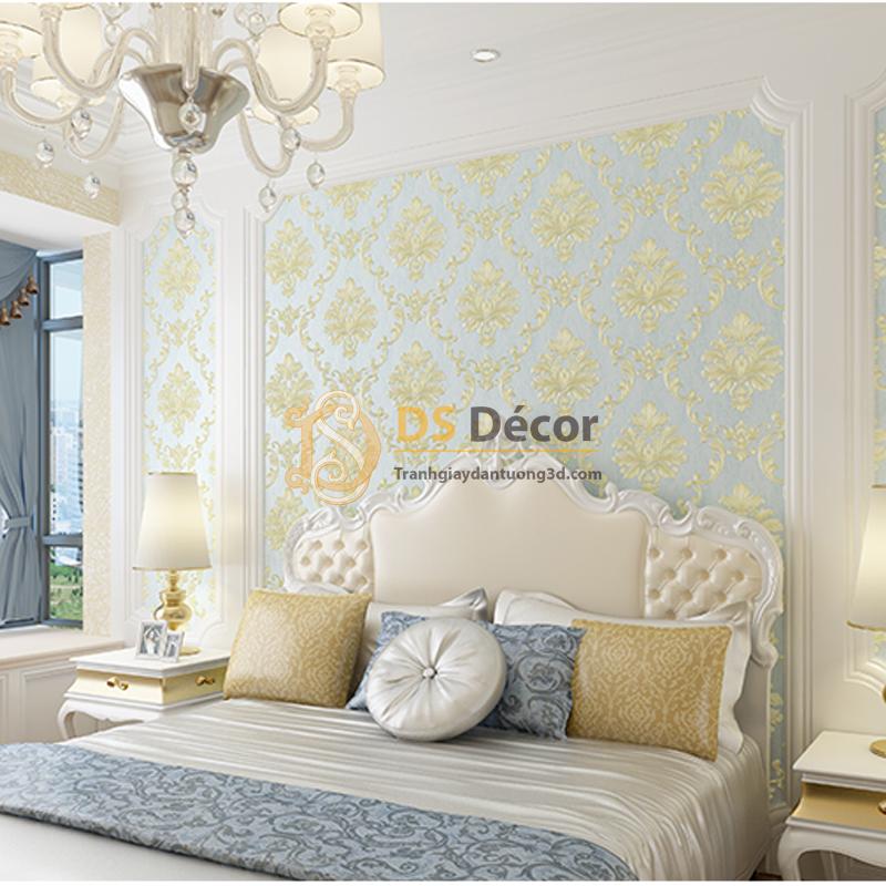 Giấy dán tường 3D dập nổi họa tiết hoa kiểu Châu Âu 3D003 nền xanh hoa vàng tại phòng ngủ