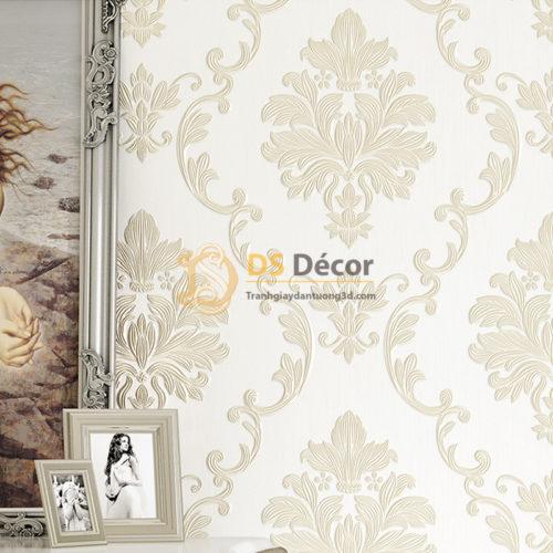 Giấy dán tường cổ điển 3D003 màu trắng