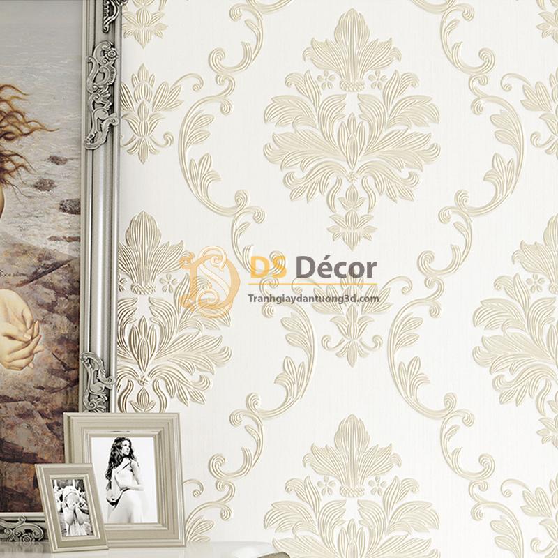 Giấy dán tường 3D dập nổi họa tiết hoa kiểu Châu Âu 3D003 nền trắng hoa trắng