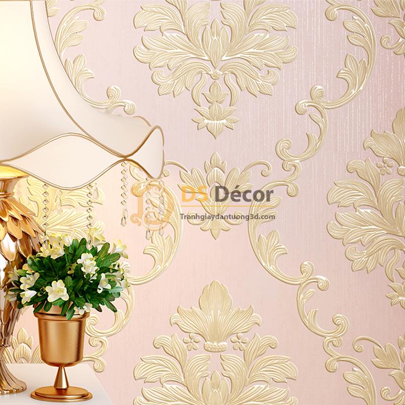 Giấy dán tường 3D dập nổi họa tiết hoa kiểu Châu Âu 3D003 nền hồng hoa vàng