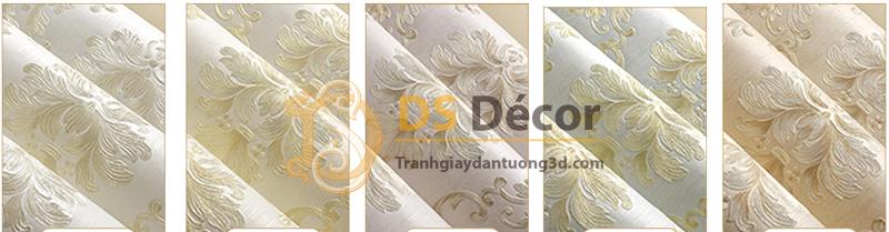 5 màu giấy dán tường 3D dập nổi họa tiết hoa kiểu Châu Âu 3D003