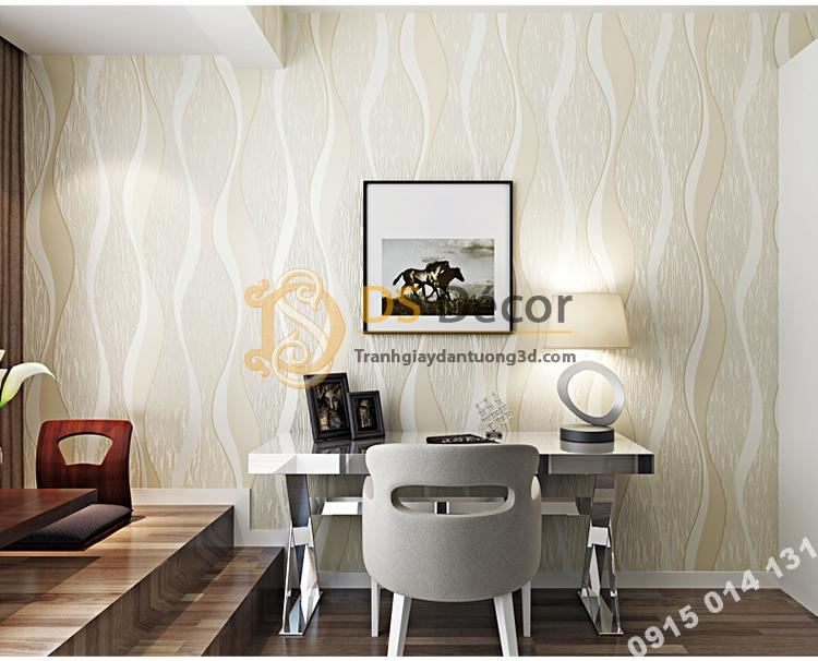 Giấy dán tường họa tiết sóng biền 3D015 màu be trắng 201