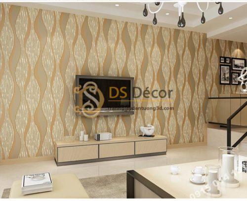 Giấy dán tường họa tiết sóng biền 3D015 màu cà phê nhạt 203