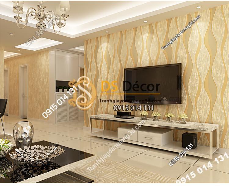 Giấy dán tường họa tiết sóng biền 3D015 màu vàng  204
