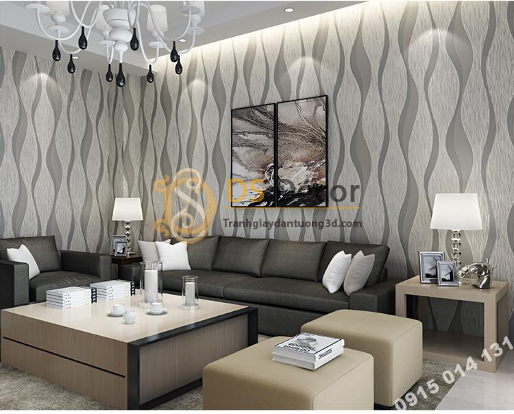 Giấy dán tường họa tiết sóng biền 3D015 màu xám nhạt  205
