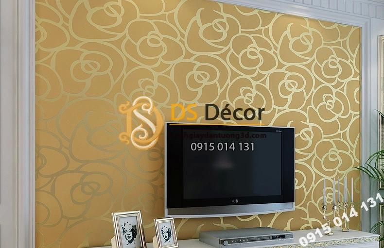 Giấy dán tường hoa hồng vàng phòng khách 3D013
