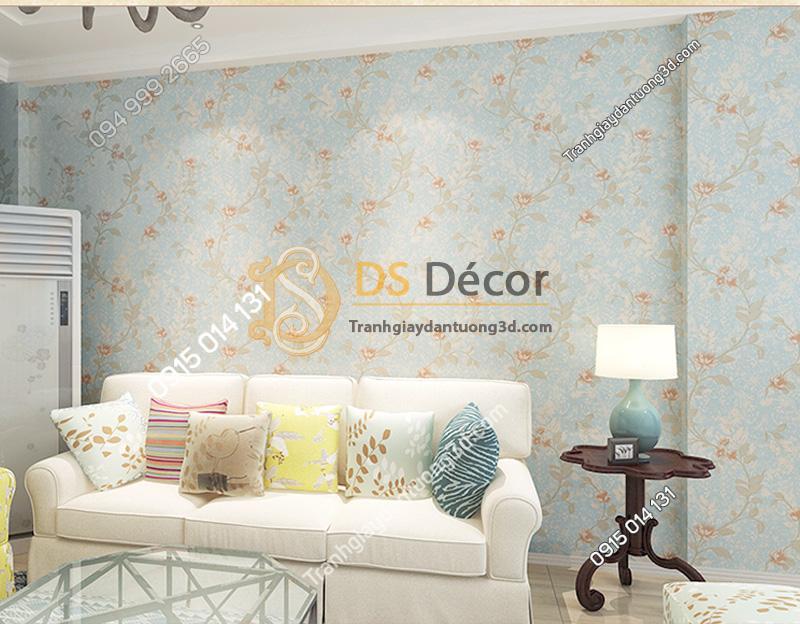 Giấy dán tường 3D họa tiết hoa kiểu Continental Damascus màu xanh
