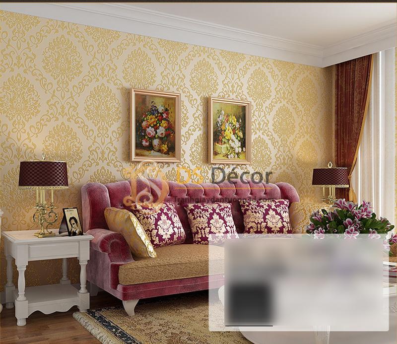 3 màu của Giấy Dán Tường 3D Hoa Văn Cách Điệu Châu Âu - màu vàng