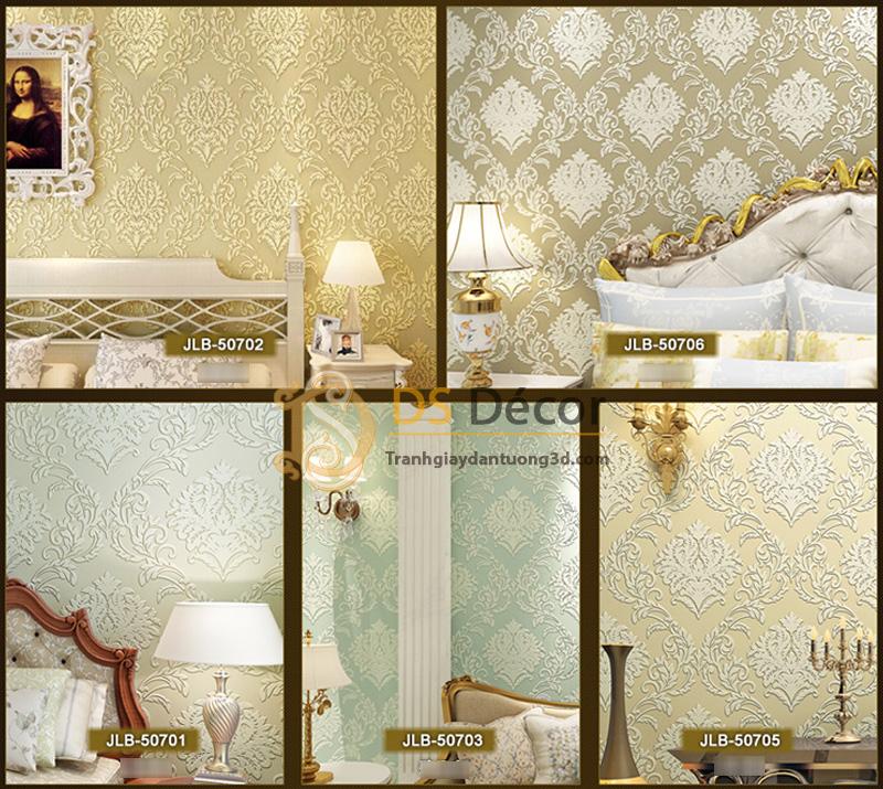 Năm màu giấy dán tường 3d hoa văn dập nổi phong cách châu Âu 3D035