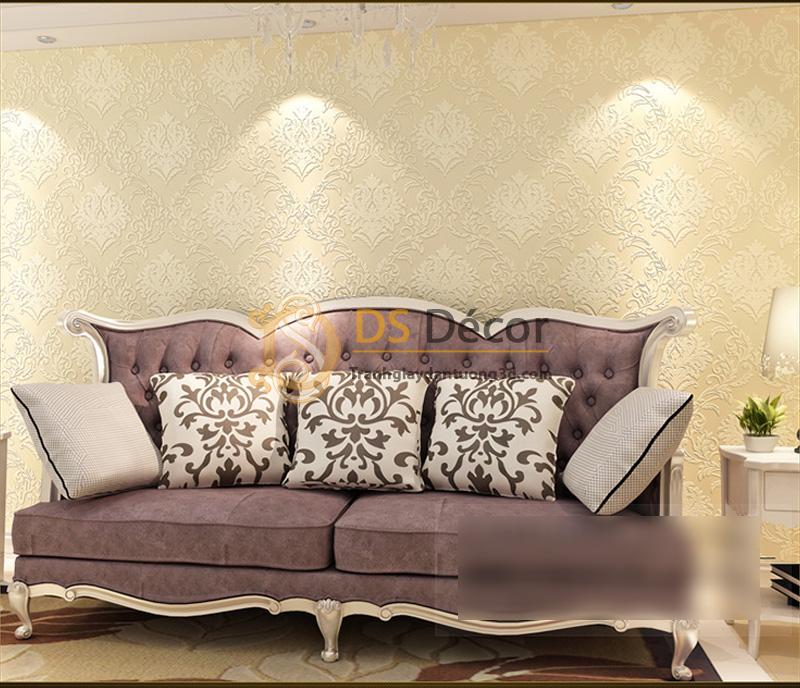 Giấy dán tường 3d hoa văn dập nổi phong cách châu Âu - Màu vàng