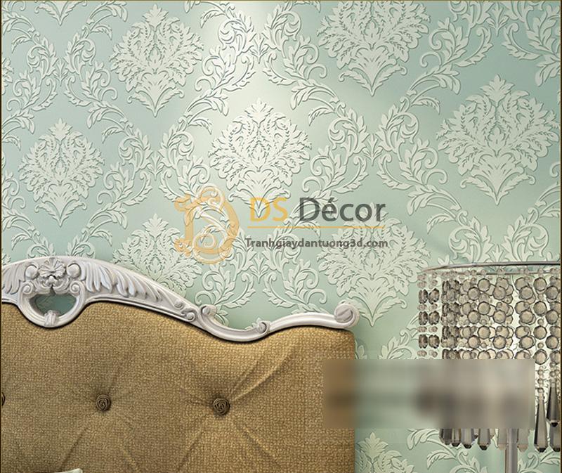Giấy dán tường 3d hoa văn dập nổi phong cách châu Âu - Màu xanh