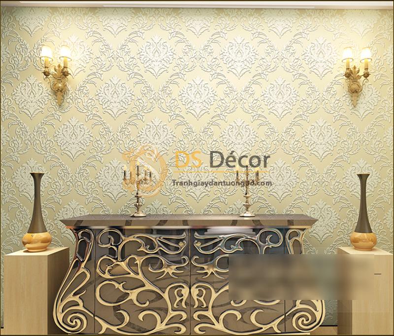 Giấy dán tường hoa văn dập nổi phong cách châu Âu - Màu be
