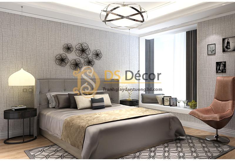 Giấy dán tường 3d sọc sofa đơn giản màu xám