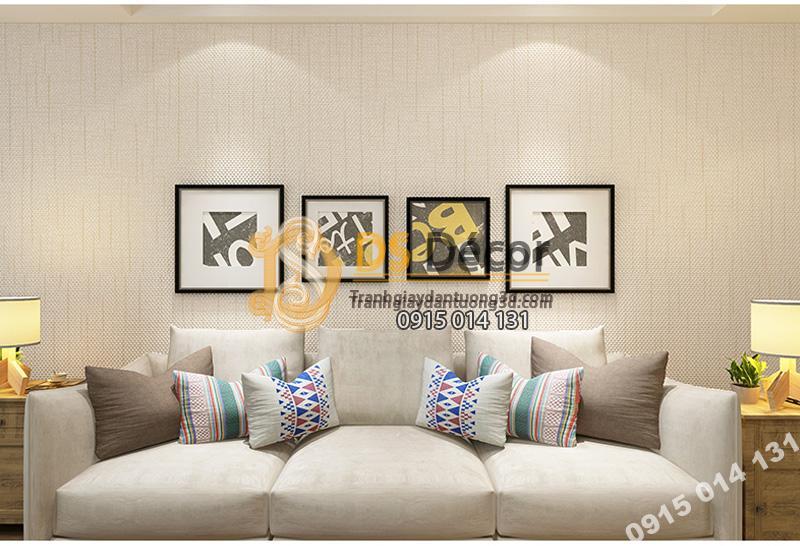 Giấy dán tường sọc sofa đơn giản màu trắng