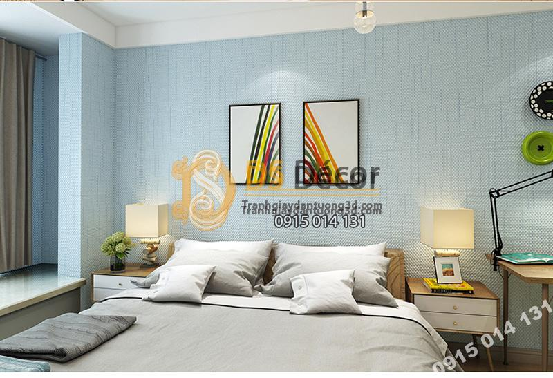 Giấy dán tường sọc sofa đơn giản màu xanh