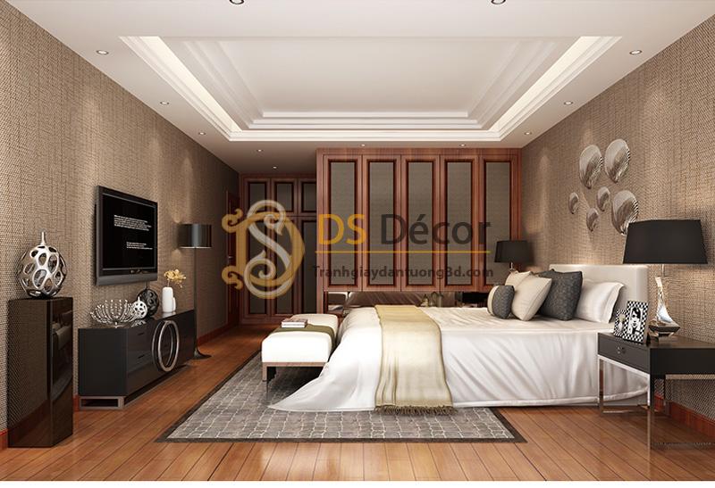 Giấy dán tường sọc sofa đơn giản màu nâu đậm