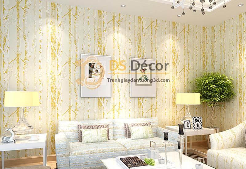 Màu vàng của mẫu giấy dán tường 3d họa tiết thân cây 3D033