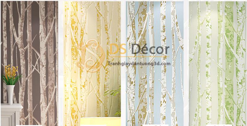Bốn màu của mẫu giấy dán tường 3d họa tiết thân cây 3D033