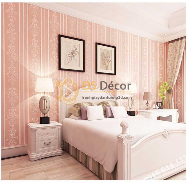 Giấy Dán Tường 3D Hoa Văn Sọc Dọc Dập Nổi 3D019 màu hồng phòng ngủ