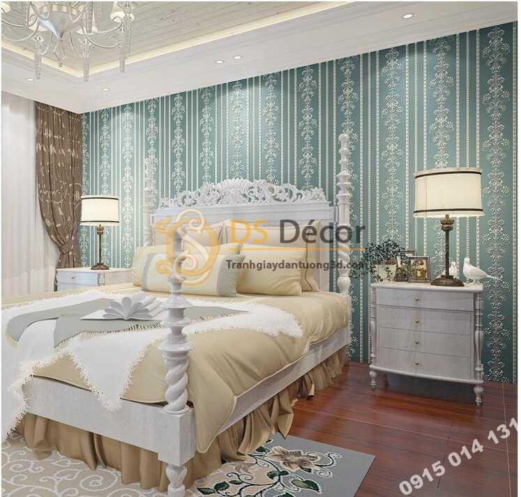 Giấy Dán Tường 3D Hoa Văn Sọc Dọc Dập Nổi 3D019 màu xanh phòng ngủ