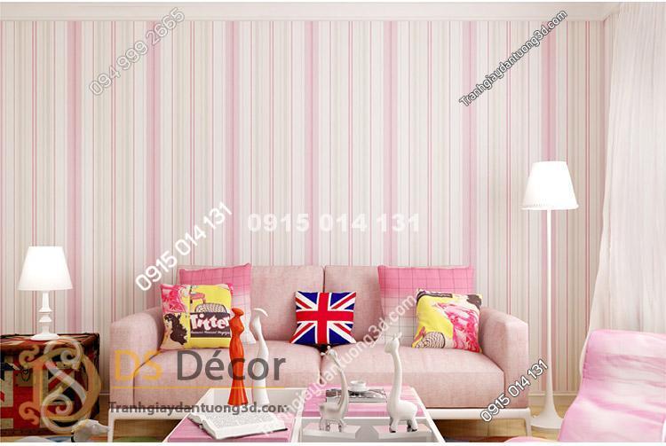 Giấy dán tường kẻ sọc dọc 3D031 màu hồng trang trí phòng ngủ