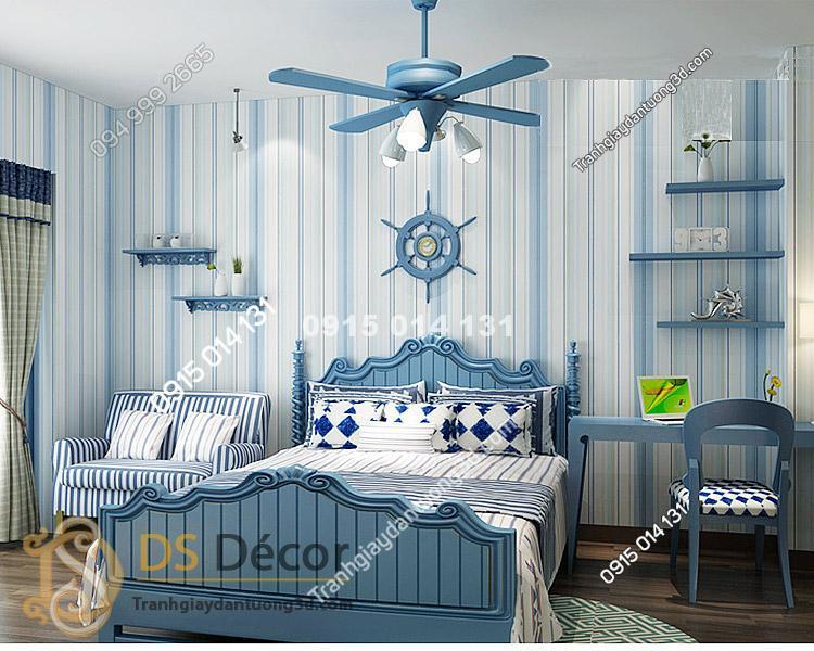 Giấy dán tường kẻ sọc dọc 3D031 màu xanh trang trí phòng ngủ