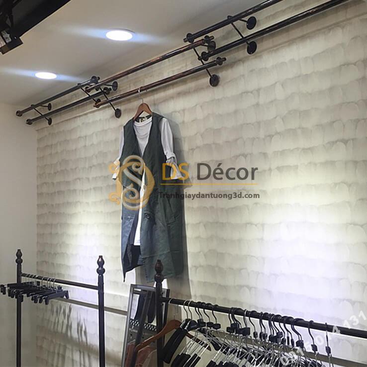 Giấy dán tường giả lông vũ trang trí shop quần áo 3D011