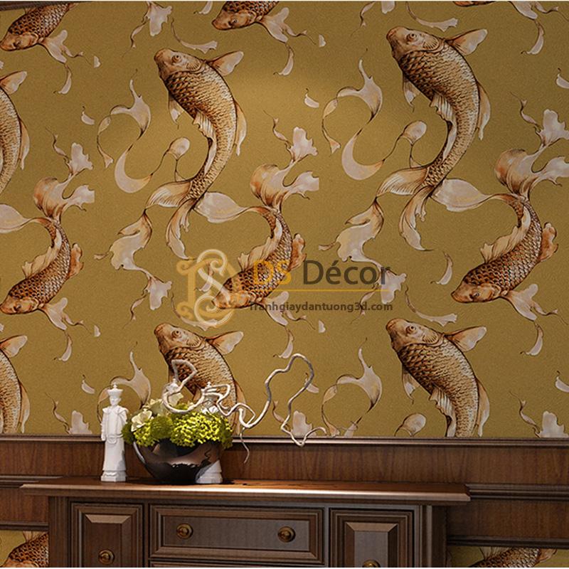Giấy dán tường 3d họa tiết cá chép màu nâu