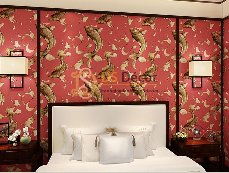 Giấy dán tường 3d họa tiết cá chép màu hồng