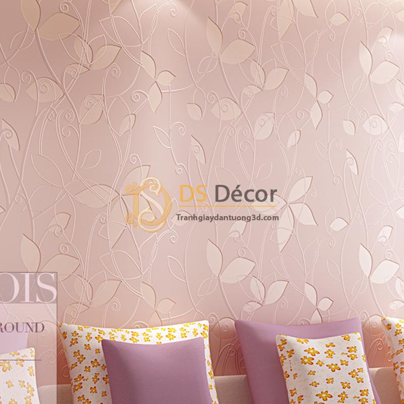 Giấy Dán Tường 3D – Họa Tiết Dây Leo 3D012 màu hồng quá hợp để trang trí phòng tân hôn