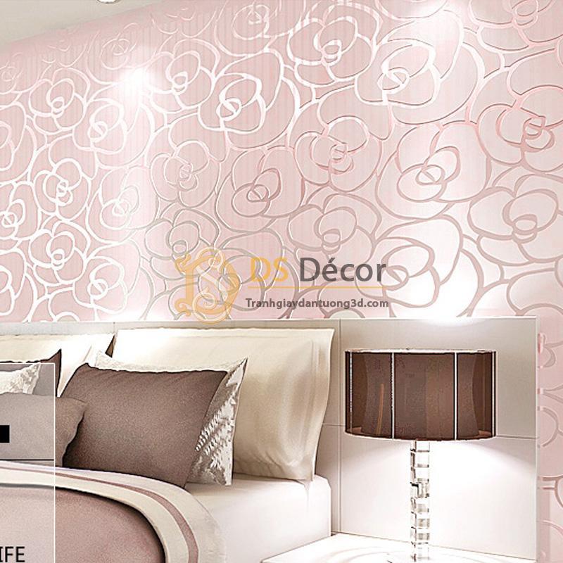 Giấy dán tường 3d họa tiết hoa hồng màu hồng