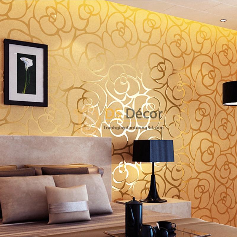 Giấy dán tường 3d họa tiết hoa hồng màu vàng