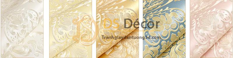 5 màu cơ bản của mẫu giấy dán tường 3d họa tiết hoa lá cách điệu dập nổi 3d026
