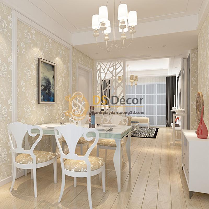 Phòng ăn nối liền phòng khách sử dụng đồng bộ giấy dán tường họa tiết hoa sen