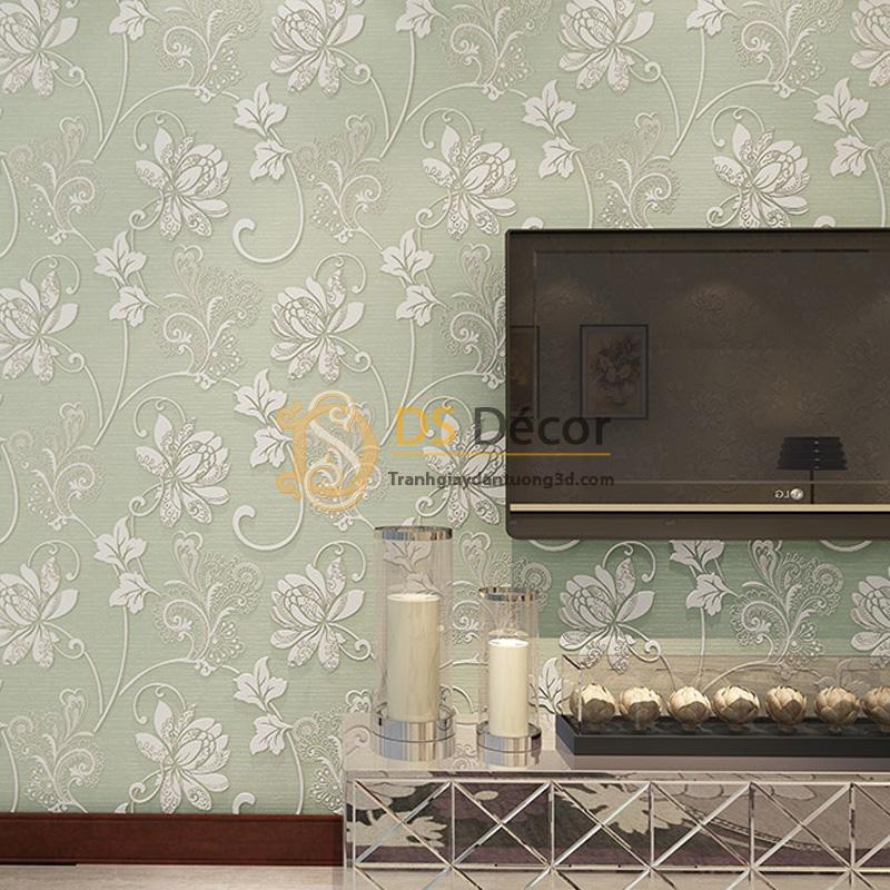 Giấy dán tường 3d họa tiết hoa sen cách điệu kiểu hoa trắng nền xanh