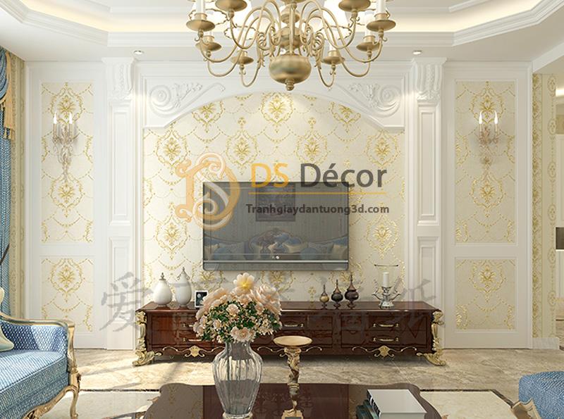 Giấy dán tường 3d hoa dập nổi kiểu Mỹ Damascus - Màu be