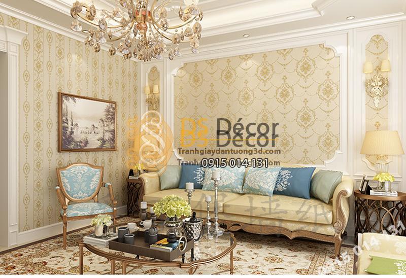 Giấy dán tường 3d hoa dập nổi kiểu Mỹ Damascus - Màu vàng