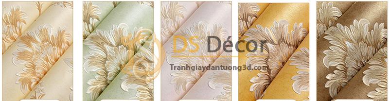 5 màu cơ bản của giấy dán tường 3d họa tiết hoa dập nổi đính kim cương